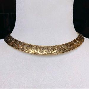 Vintage Floral Gold Tone Necklace Bohemian Boho